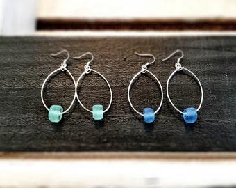 Beachglass hoops...
