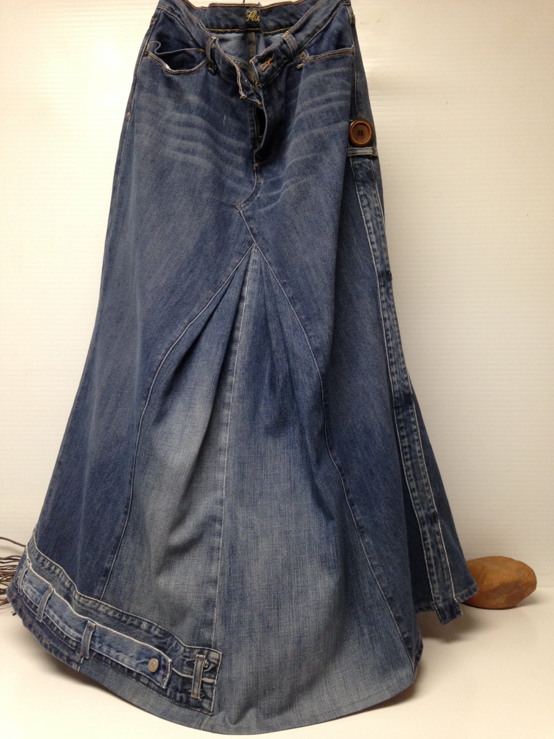 s maxi denim jean skirt vintage by