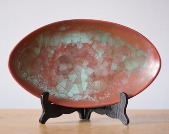 Vintage Michael Andersen & Sons - oval bowl - Persia glaze - no 5437-2 - collectible - mid century