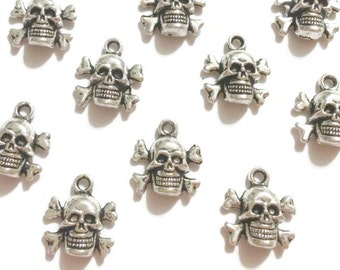 6 Antique Silver Skull Bone Charms - 3D
