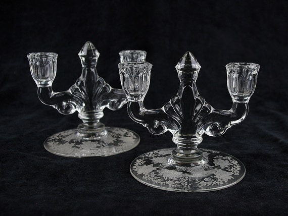 Crystal Gardenia Reviews >> Heisey Gardenia Etched Double Light Candlestick Holder 2 pc