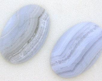 one 30x20 oval blue lace agate cabochon gem gemstone blac7