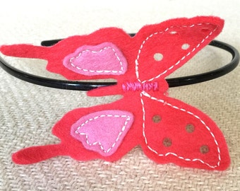 Coral Pink Butterfly Headband made from wool felt