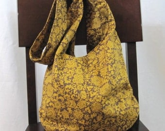 Crossbody bag, brown floral boho bag, cloth bag