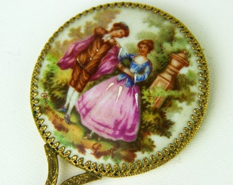 Gorgeous Vintage Fragonard Limoges Small Hand Held Mirror Porcelain Front Brass Trim Beautiful Design with Lovers / Courting Couple Signed