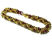 Red and Gold Anodized Aluminum Byzantine Chainmaille Bracelet