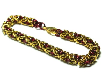 Byzantine Chainmaille Bracelet | Hand Crafted Chainmaille Jewelry | Handmade Bracelet | Red and Gold | Anodized Aluminum