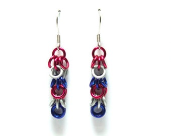 Red, White, and Blue Anodized Aluminum Shaggy Loops Earrings