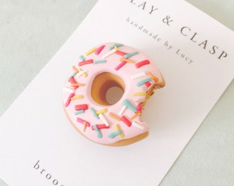 Doughnut Brooch - beautiful polymer clay jewellery by Clay and Clasp