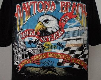 Vintage Daytona Beach Bike Week 1993 Black Souvenir T Shirt Men Sz XL