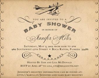 Vintage Airplane Baby Shower Invitation- PRINTABLE