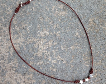 Necklace Eternity 03 Five-Pointed Stars-Sterling Silver & Leather-Handmade (N203SS-L)