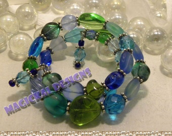 Ocean Calypso Bracelet - Triple spiral bracelet of blue, aqua and green beads