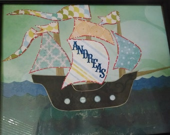 Nautical Pirate Ship Sea Themed Custom Child Name Frame