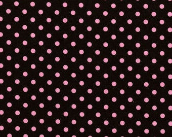 Dumb Dots - Cocoa with Pink Dots - Michael Miller Fabrics - Fabric Yardage