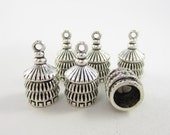 6pcs 7mm-Opening Round Asian Three Stacked Roof End Cap Silver Plated (F1833)