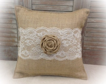 Burlap Pillow with Lace and a burlap Rose - COMPLETE pillow - Home decorating Housewarming gift Wedding gift