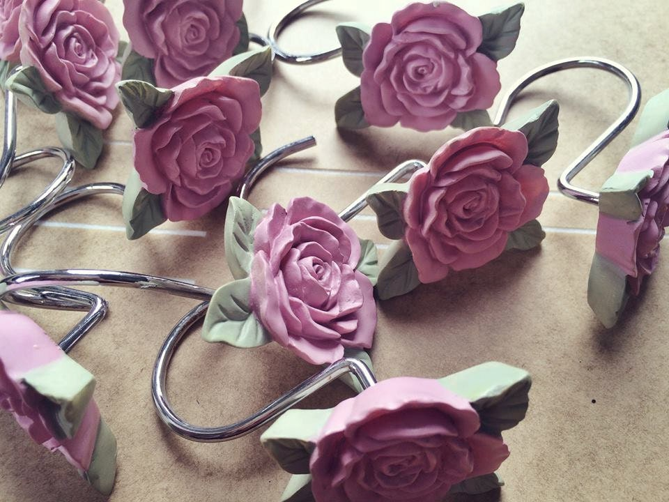 Vintage Pink Rose Shower Curtain Hooks Jewelry by alicksandraflin