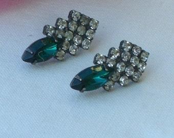 Earrings - Emerald Green Rhinestones - Pierced Ears - Vintage