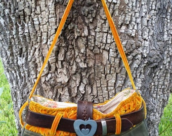 ONE-OF-A-KIND--Showstopping Handcrafted Upcycled Camo Boho Bohemian Gypsy Western Victorian Punk Chic Militaria Hippie Velvet Bag Purse