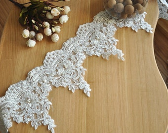 Ivory Beaded Alencon Lace Trim