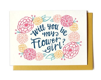 Will You Be My Flower Girl Card - GOLD - Bridal Party Request Card - Ask Flower Girl - Will you be our flower girl