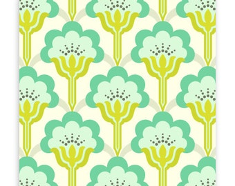 True Colors Pop Blossom in Turquoise by Heather Bailey for Free Spirit Fabrics TC015- Half Yard or By the Yard
