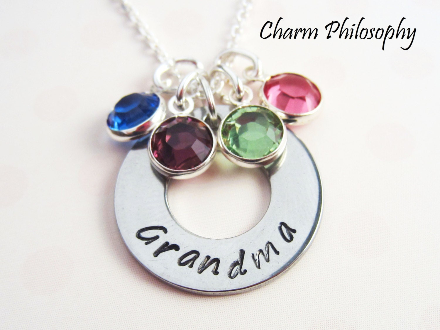 Grandmother necklace up to 4 birthstone charms gift for for Grandmother jewelry you can add to