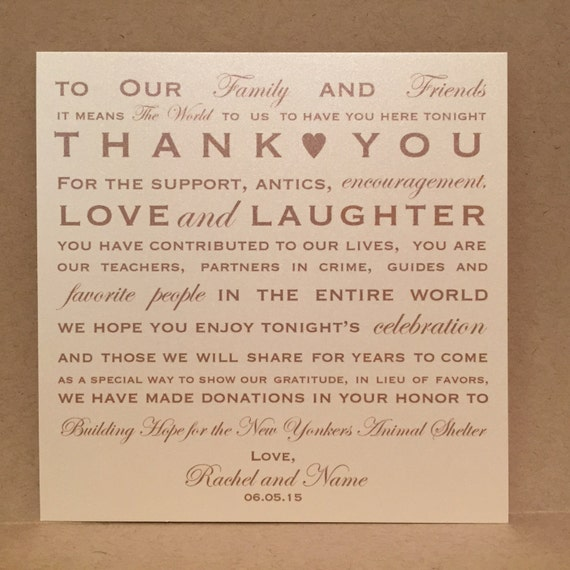 Donation Favor Thank You Wedding Reception Cards PlaceCards Signs ...