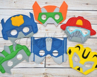 Rescue bot inspired dress up and party favor masks, transformers, transformer birthday, rescue bot birthday, rescue bot party, party