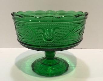 Vintage Emerald Green EO Brody Glass Pedestal Dish