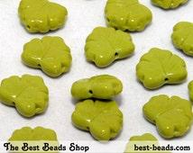 30pcs Olivine Green Maple Leaf Czech Glass Pressed Beads 13x11mm