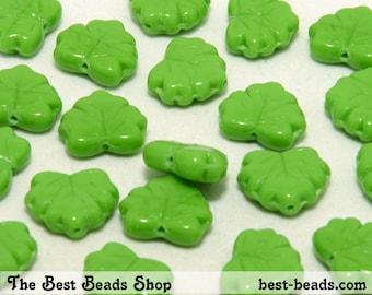 30pcs Green Maple Leaf Czech Glass Pressed Beads 13x11mm