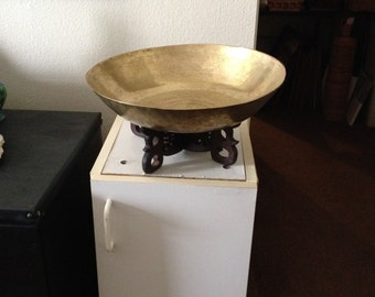 Turn of Century Chinese Brass Basin with Wooden Stand
