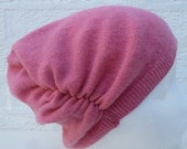 Ruched hat small beanie Winter accessory Cashmere wool beanie soft headwarmer Slouch hat teens ecofriendly beanie bright pink winter hat.