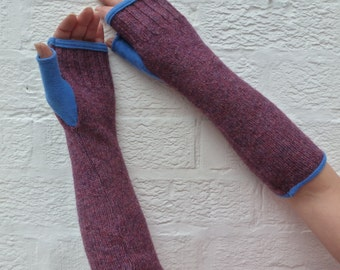 Purple armwarmers blue cashmere lined fingerless gloves with thumbs chunky winter accessories Eco-friendly mittens Winter wedding gloves.