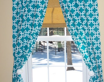 "Turquoise Curtains,Turquoise Damask Curtains,Lattice Curtains, Custom Curtains,Pair Drapery Panels, Window Treatment,24"" Wide,52"" Wide"