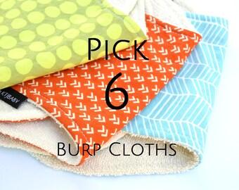 Pick 6 Burp Cloths | Terry Cloth Burp Cloths | 6 Burpies | Burp Cloth Set | Gender Neutral Baby Shower Gift | Set of 6 Burp Cloths