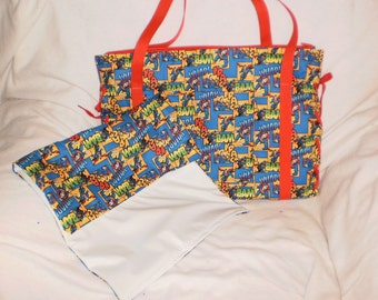 superman diaper bag with matching changing pad