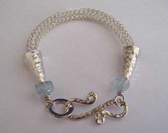 Viking Knit weave Bracelet Sterling Silver with Aquamarine Gem beads hammered clasp handmade