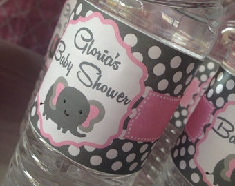 Elephant babyshower Water Bottle Lables 12 Ct.