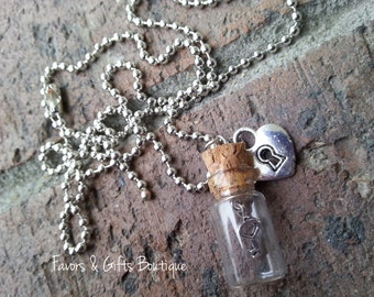 Key to My Heart Glass Vial Necklace