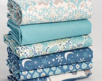 Fat quarter fabric bundle - 100 % cotton - duckegg & midnight blue animal woodland prints - quilting bunting craft sewing toy cushion