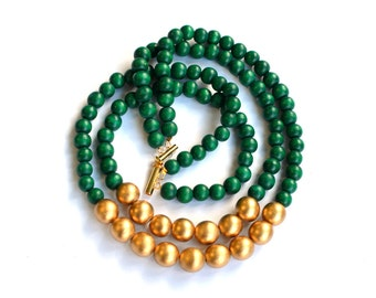 green beaded necklace / dark green statement necklace / green and gold / bridesmaid necklace / emerald green forest green kelly green