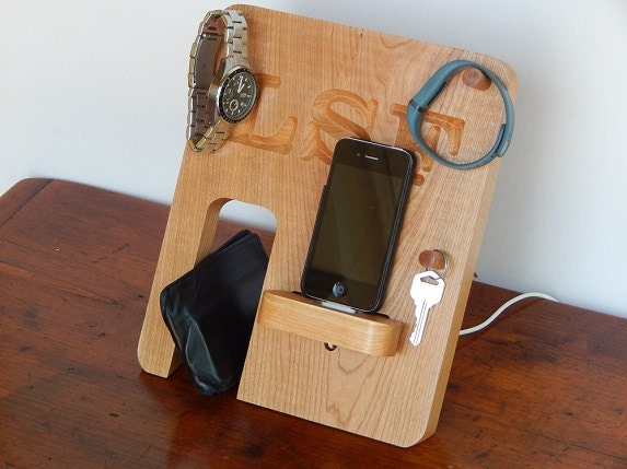 Personalized phone docking station made from real hardwood for Simple creative things