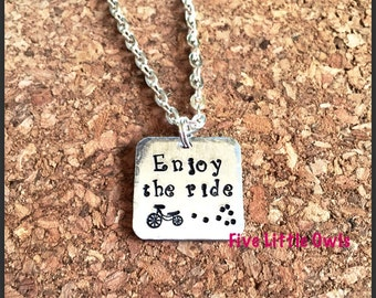 Hand stamped enjoy the ride small pendant necklace