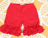Red Double Ruffle Knit Shorts in Size 6 Girls