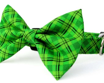 Black and green plaid dog bow tie collar set & cat bow tie collar set - adjustable with bell (optional)