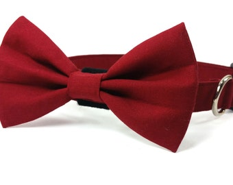 Burgundy dog bow tie collar set & cat bow tie collar set - adjustable with bell (optional) - maroon/ oxblood