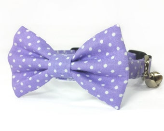 Purple polka dot dog bow tie collar set & cat bow tie collar set - adjustable with bell (optional)